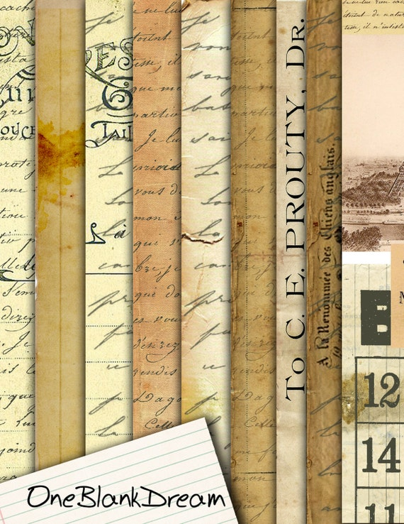10 Old French News Grunge Digital Papers 8.5 x 11 inch paper pack instant download digital paper printable digital collage sheets