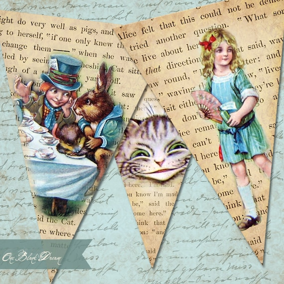 Alice In Wonderland Grunge Printable Banner Party Printable Digital Collage Sheet Instant Download