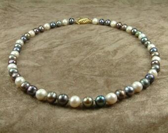 Multicolor Pearl Necklace 8 - 8.5 mm (Κολιέ Μαργαριταριών Πολύχρωμο)