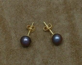 Black Pearl Earrings 7 mm (Σκουλαρίκια με Μαύρα Μαργαριτάρια Akoya 7 mm)