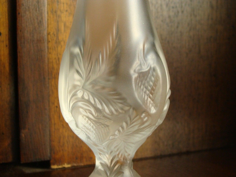 vintage fenton satin glass bud vase w strawberry pattern