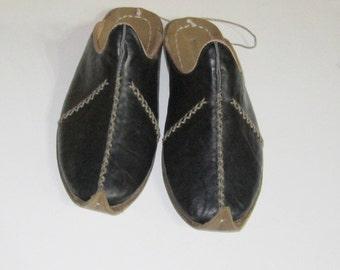 Turkish Yemeni Organic Hand Made Genuine Leather Shoes slipper black