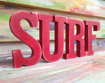 Handpainted distressed Surf Red Nautical sign