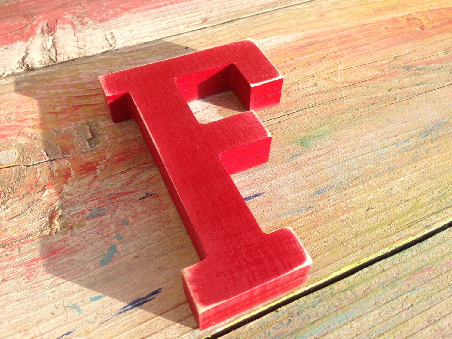 Wood letter f red home decor sign any letter any color for Letter f decoration
