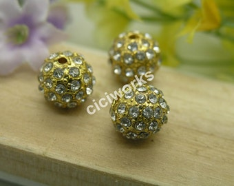 10pcs 12mm alloy Gold rhinestone Beads charm pave disco ball bracelet/necklace bead