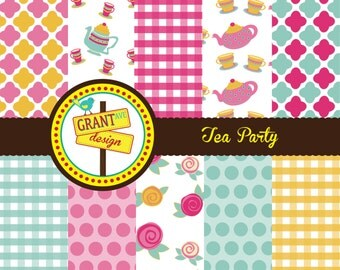 Tea Party Digital Papers - Backgrounds for Invitations, Card Design, Scrapbooking, and Web Design