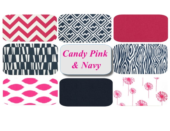 Navy And Pink Decorative Pillows: Navy Hot Pink Pillow Covers 18 X 18 Mix & Match By