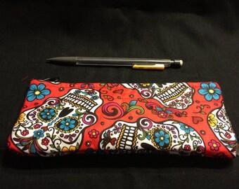 Día de Los Muertos/Day of the Dead Calaveras/Skulls Red Folkloric Pencil Case / Zipper Pouch #1