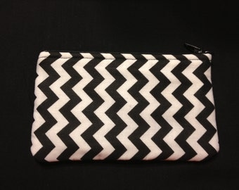 Black and White Vertical Chevron Pencil Case / Zipper Pouch, Coin Purse, or Wristlet #34
