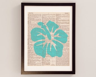Vintage Floral Dictionary Print - Hibiscus Art, Print on Vintage Dictionary Paper, Hawaii Decor - Hibiscus Print - Purple, Orange, Turquoise