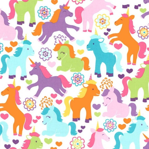 Rainbow Unicorns Fabric