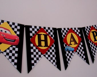 Disney Cars Birthday Banner - Cars Birthday Banner - McQueen Birthday Banner - Birthday Banner - Handmade Banner - Customizable