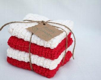 Crocheted Dishcloths, Red Dishcloths, Cream Dishcloths, Gifts Under 20.00,
