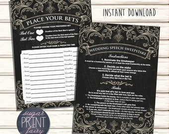 INSTANT PRINTABLE DOWNLOAD - Digital File - Wedding Betting Sweepstake - Printable Speech Bet Slips