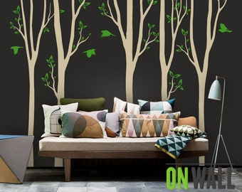Large Birch Tree Decals Nursery Decals Kids Wall Decals Living Room Decal    Birch Wall Decal
