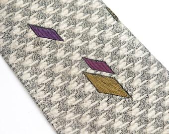 Vintage Men's Skinny Tie Silk Tie Grey checked background with accent color diamonds. 60's  Necktie #1