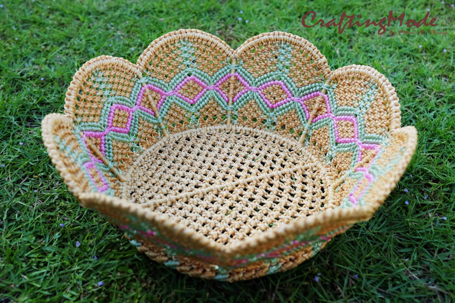 Handmade Nylon Basket : Medium sz macrame basket rope nylon handmade in