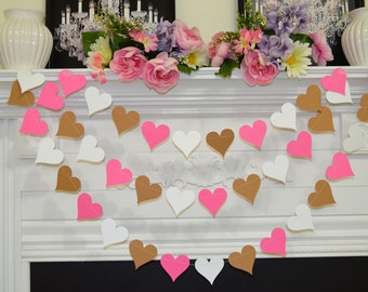 Paper garland, heart garland, wedding garland, birthday decor, wedding decorations, party garlands, photo prop, bridal shower baby shower