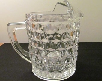 Fostoria Pitcher with ice lip  crystal American pattern, 70 oz Vintage 1940s