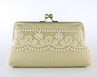 Bridesmaid Clutch, Linen Lace Clutch, Silk Lining, Bridesmaid Gift, Wedding clutch