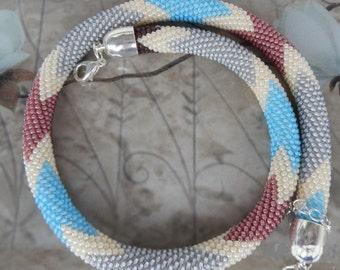 Beaded crochet Necklace.Beaded crochet rope. crochet chain hose morning dew