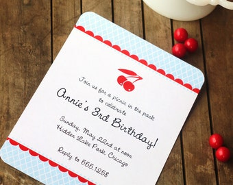Cherry Picnic Printable Invite - Blue Red Cherries