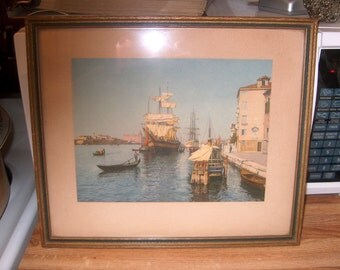 Vintage Art, Ship Print, Picture, WAS 40.00 - 50% = 20.00