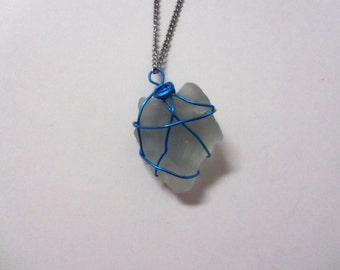 White Sea glass Pendant wire-wrapped with blue wire