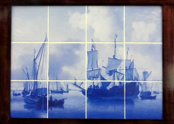 Items similar to delft blue tile mural on etsy for Delft tile mural