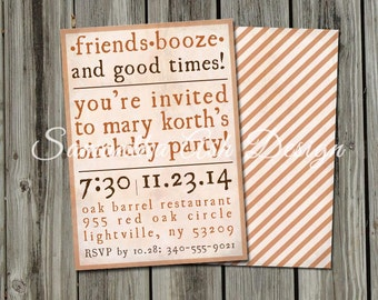 Printable DIY Rustic Birthday Invitation with Stripes - 5x7in