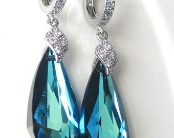 Bermuda Blue Wedding Earrings, Crystal Blue Bridal Earrings, Beach Wedding, Teardrop Bridesmaid Earrings