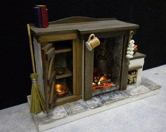 DollHouse Fireplace with opening cupboard Door and light up fire - Tudor / Medieval / Witch