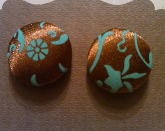 Shiny chocolate brown & teal floral fabric covered button earrings