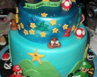 Mario Brothers Inspired Fondant Gumpaste Cake Decorations