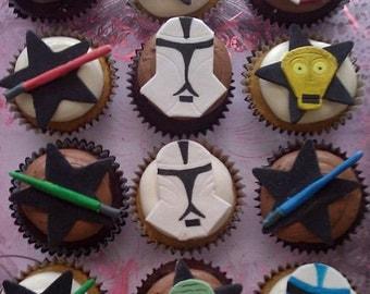Star Wars Inspired Fondant Gumpaste Cupcake Toppers