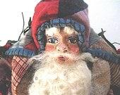 "Santa-OOAK Primitive Folk Art Santa- ""AMERICAN SANTA""-Original Design from Olde Quilt w/Handmade Doll & Hobby Horse"