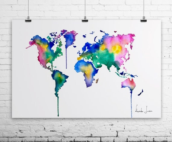 Colorful World Map - Art Print - Watercolor Painting