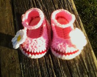 Handmade Crochet Mary Jane Baby Booties
