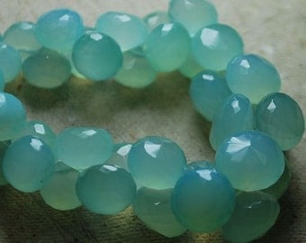 SALE Sale 35 % Off Full 6 Inch Strand NEW Aqua CHALCEDONY Faceted Onion Briolette 8 mm With Free Shipping World Wide.