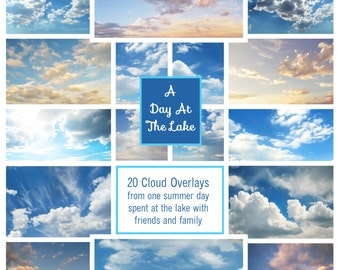A Day At The Lake Collection of 20 Cloud Overlays for Photoshop & Photoshop Elements Instant Digital Download
