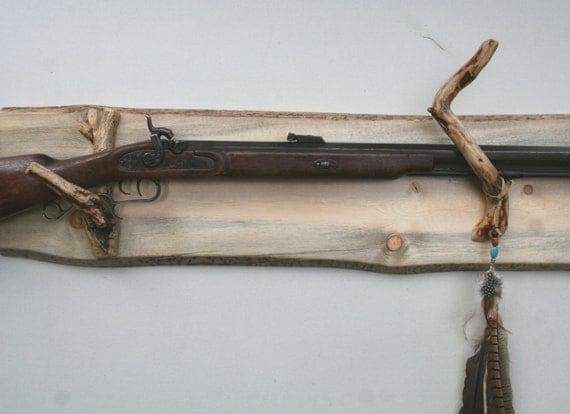 Long gun display rack p113 blue pine beetle kill fits o u shotgun