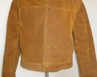 Vintage 1950's Mens 'Pioneer Wear, Gold Label' Western / Cowboy / Sherpa Tan Suede Jacket - Small