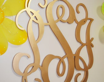 20 inch PAINTED Wooden Monogram Letters, wood monogram, guest book, GOLD paint