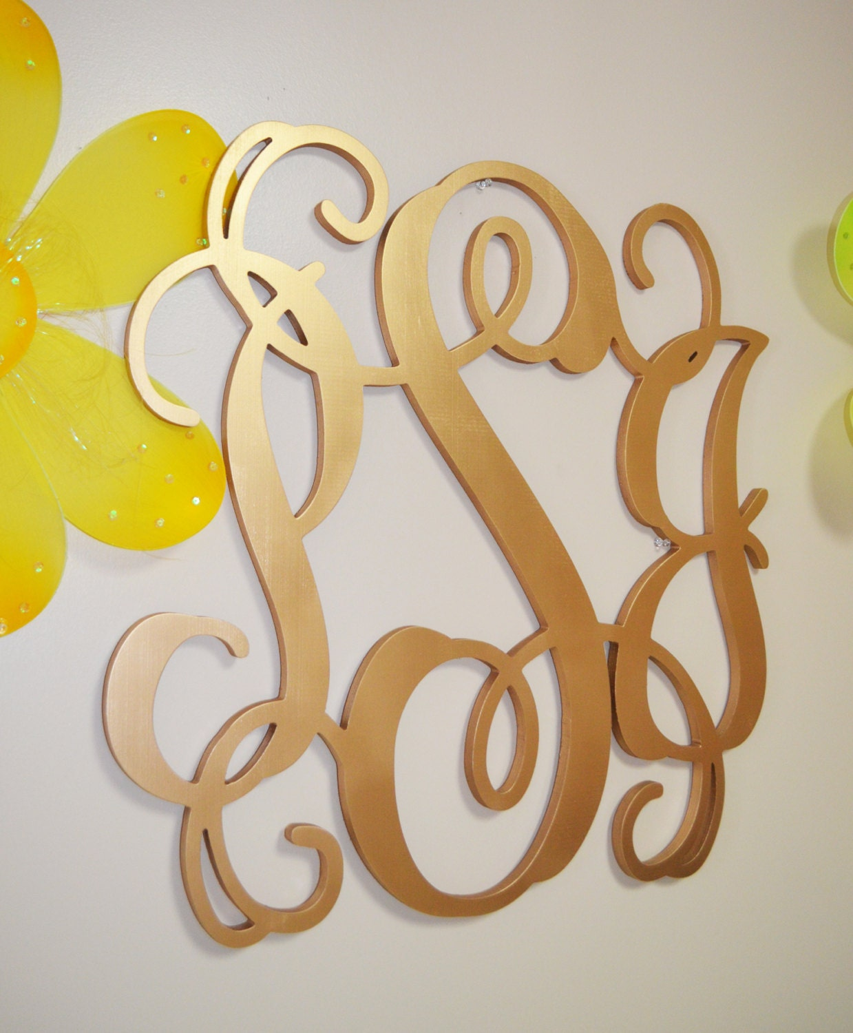 Gold wooden monogram wall hanging letters monogram door for Gold wall decor letters