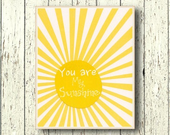 You are my Sunshine - Art for children print Kids wall art - Playroom art Family Room - baby art -  Yellow nursery wall art