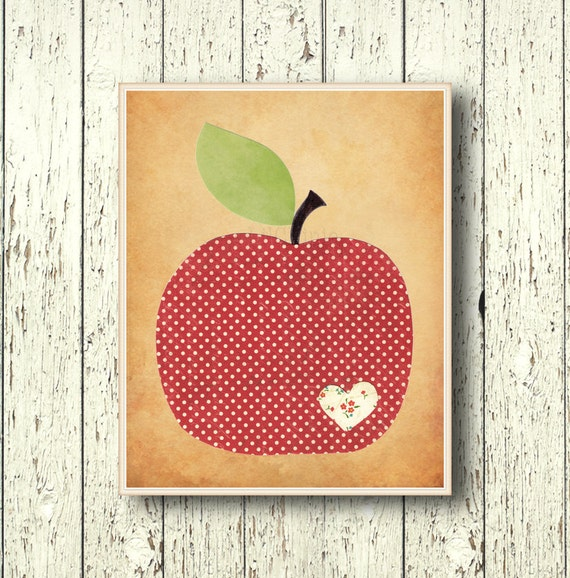 Apple family art decor kitchen wall decor by lilchipie on etsy for Red apple decorations for the kitchen