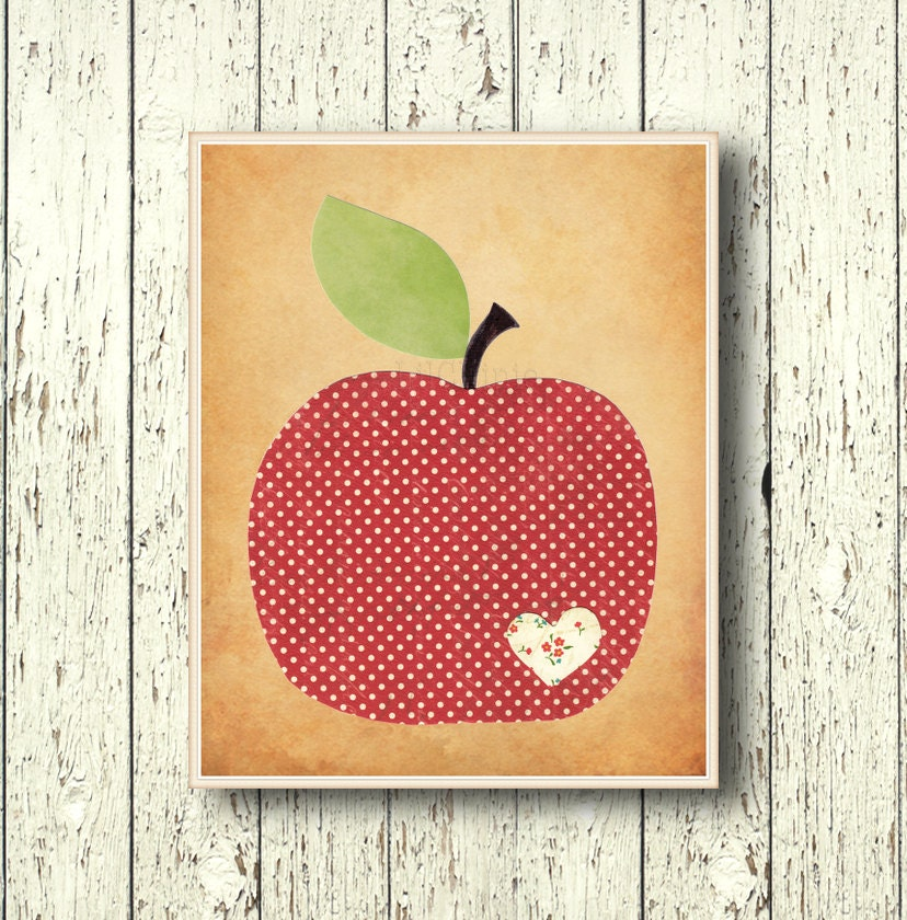 Apple Family Art Decor Kitchen Wall Decor By Lilchipie On Etsy