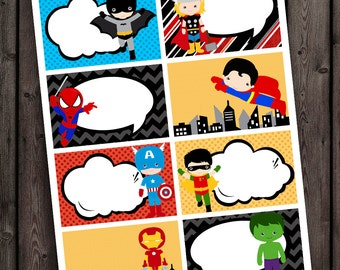 superhero tags, superhero blank tags, superhero party favors, printable, super hero tags. super hero party favor tags, instant download