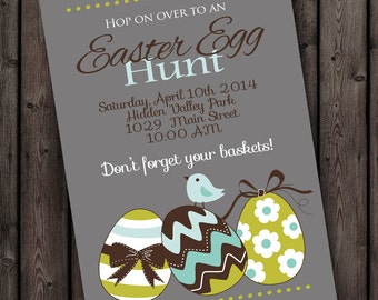 easter egg hunt invitation, color and wording customize, Easter invitation,  egg hunt, easter party invitation, mint, lime and gray invite