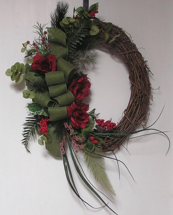 Christmas Wreath Rustic Wreath Grapevine Wreath Holiday